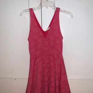 Hot Pink Wrap Skater Dress from UO